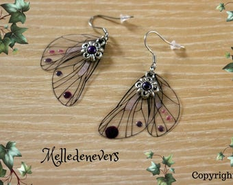 boucles d'oreilles acier chirurgical ailes fée earrings wings fairy purple violet