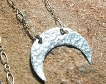 "Sterling Silver Crescent Moon Necklace - Handmade - 25"" Long Sterling Silver Chain - Ready to Ship RTS"