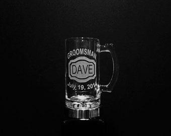 12 Groomsman Beer Mugs Set  - Groomsman Mugs - Set of 12 Personalized Wedding Gifts - DEEP Etched Mugs - Best Man Gift, Wedding Beer Mug