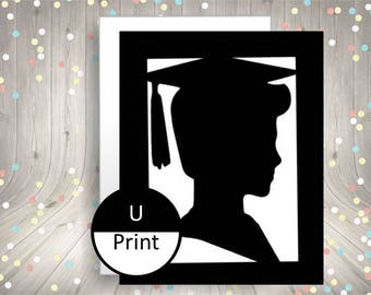 Boy Graduation Party Invitation or Thank You Card Party Supply Instant Download Card DIY Printable Blank Inside