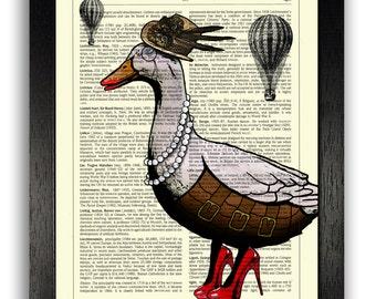 STEAMPUNK DUCK Art Print, Steampunk Poster Illustration, Dictionary Art Print, Animal Bedroom Decor, Nursery Wall Art, Funny Duck Gift Art