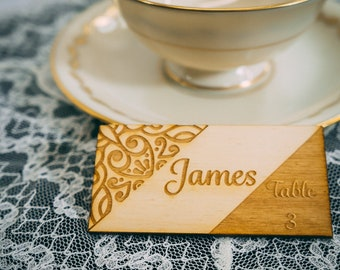 place setting card, laser cut name place, wedding placecards, table place setting, Custom Wood Wedding Place Cards , wedding place setting