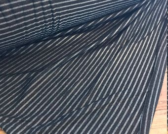 Charcoal and Metallic Silver Stripe Jersey Fabric by the Yard