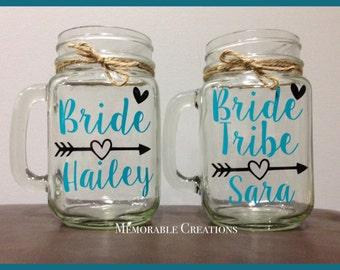 FAST SHIPPING-Personalized Rustic Wedding Bride Tribe Mason Jar Mugs