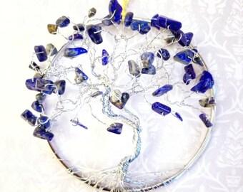 Blue Suncatcher, Tree of Life Window Hanging, Lapis Lazuli Decor, Spiritual Gifts, Silver Tree