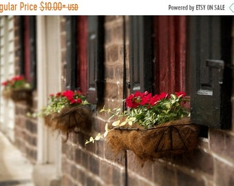 SALE 20% Off Historic Window with Flower Box Color Photograph, Black Horse Tavern, Bucks County, Pennsylvania, Colonial, Black, Red, Beige,