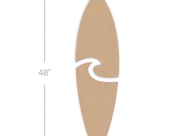 Two Piece 48 Inch Unfinished Wooden Surfboard Cutout Shape
