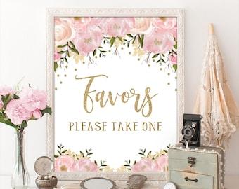 pink and gold floral bridal shower favors printable sign blush pink flower wedding sign