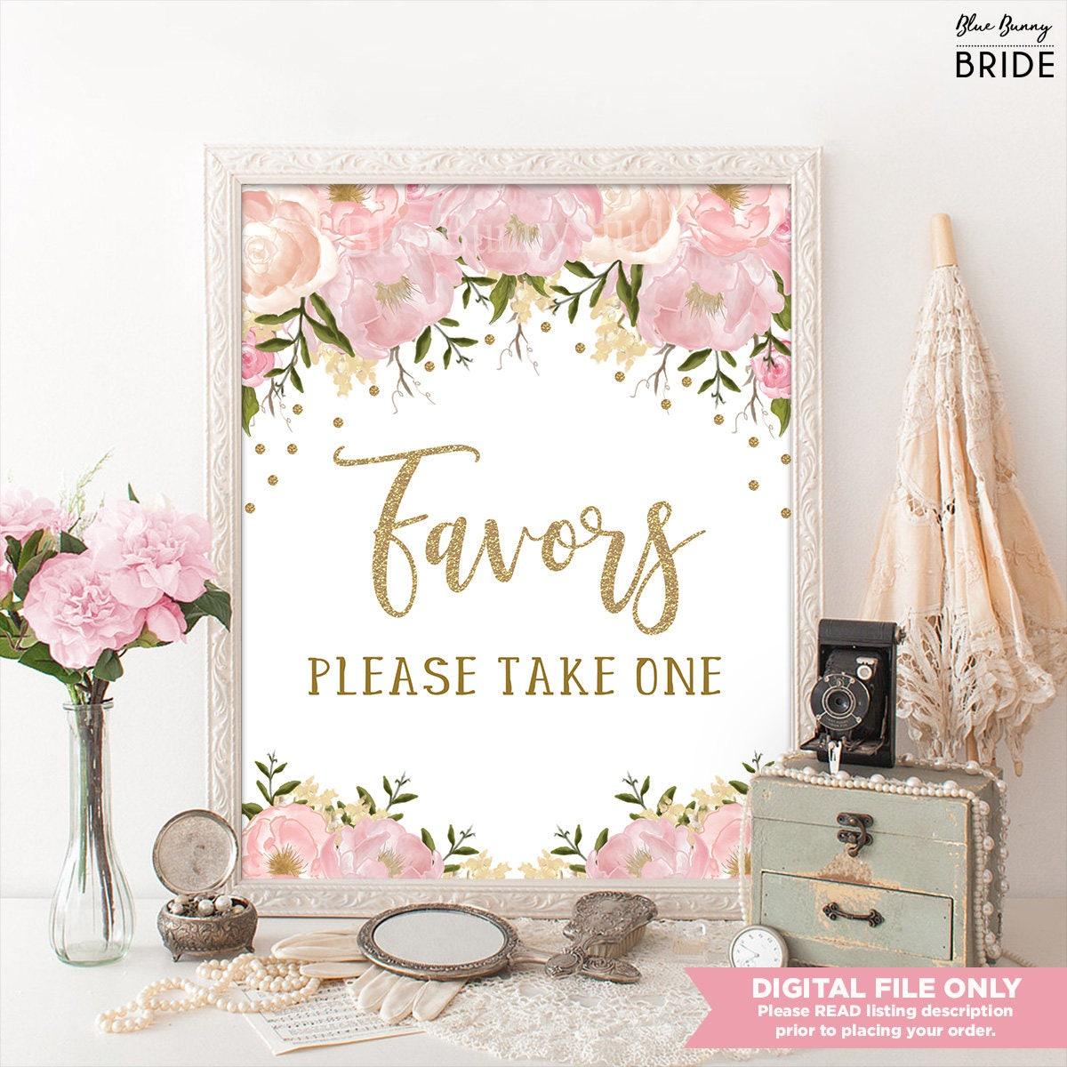 Pink and Gold Floral Bridal Shower Favors Printable Sign.