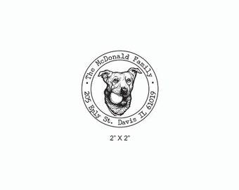 Dog Face Holding Ball Cute Retriever Custom Return Address Rubber Stamp AD370