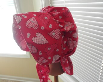 1800's Inspired SunBonnet---Re-Enactor Costume Pioneer Red Hearts and Buttons Print