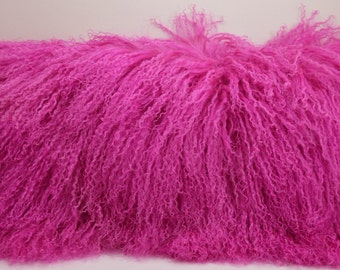 Mongolian Lamb fur  Pillow fuchsia pink new made in usa authentic genuine real cushion insert included