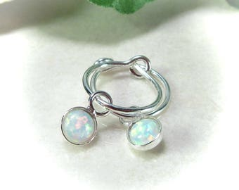 Hoop Earrings Silver White Opal Dangle - White Opal Earrings, Opal Earrings, Sleeper Hoops, Huggie Hoops, Tiny Hoop Earrings, Silver Hoop