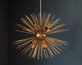 Modern Brass Sputnik Urchin Chandelier Light Fixture