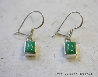 Turquoise Earrings / Rectangle Earrings / Sterling Silver / Natural Stone / December Birthstone / Minimalist Jewellery