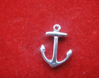 2PC 925 Sterling Silver Anchor Charm,silver Anchor charm 2 pc., sterling silver anchor, small anchor, Shiny silver