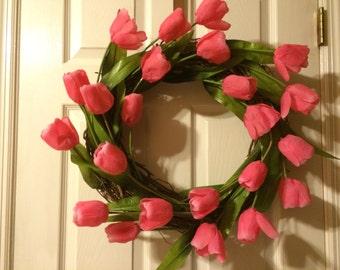 Spring Tulip Wreath - Flower Wreath - Pink - Grapevine Wreath - Tulip Wreath - Spring Wreath - Spring Decor - Summer Wreath
