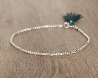 Delicate bracelet pure silver beads and tassel women jewelry