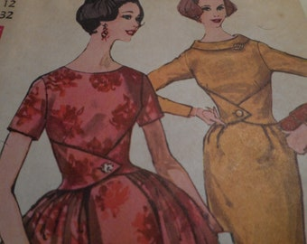 Vintage 1950's Simplicity 3666 Dress Sewing Pattern Size 12 Bust 32