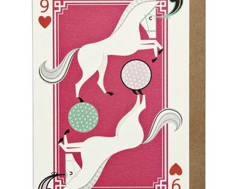 9 of Hearts Horse A6 Greeting Card