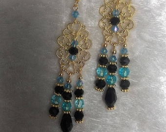 Earrings black turquoise gold filigree beads and metal