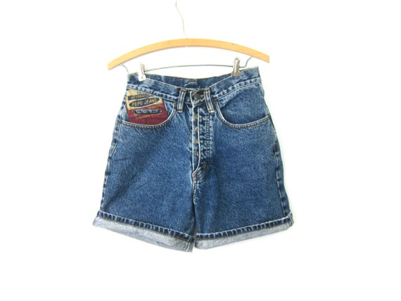 80s Blue Jean Shorts High Waist PEPE Denim Shorts Vintage 1980s Long MOM Shorts Dark Roll Up Button Fly Womens Size 28 inch waist Small