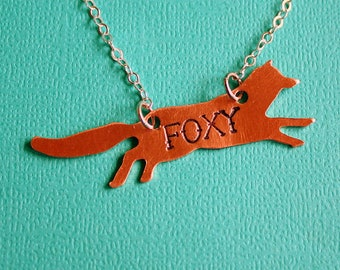 Foxy Necklace - Hand Stamped Jewelry - Gift - Fox Pendant