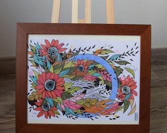 Colorful feathers flower illustration