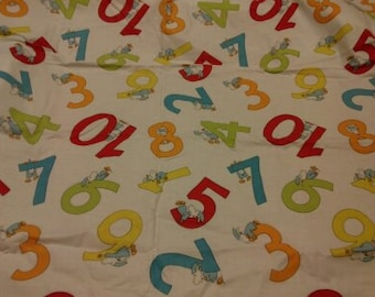 Fabric white red red yellow orange numbers Back to School BTS Cotton Fabric Scandinavian Design Scandinavian Textile