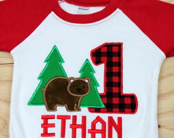 Baby Boy Bear Birthday Outfit - Bear Birthday Shirt - 1st Birthday Bear Shirt - Birthday shirt - Camping Birthday Shirt
