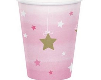 Twinkle Twinkle Little Star Cups, Set of 8, Baby Shower, Moon and Star Party, Twinkle Twinkle Birthday Party, Pink and Gold Party