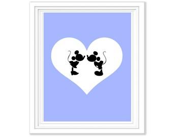 Mickey & Minnie Silhouette Love Printable - Any Colour Background