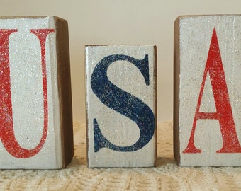 USA Wood Americana Blocks Holiday Blocks Glitter Blocks