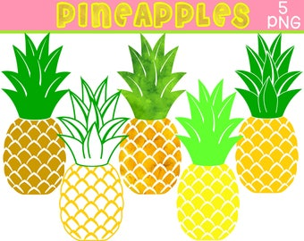 Pineapples Digital Clipart Set – PNG - Watercolor pineapple - Personal and Commercial use – Instant Download