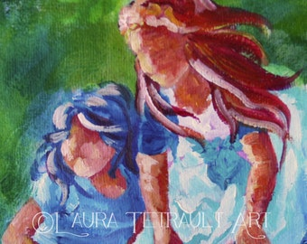 Two Little Girls  - Original Painting on Watercolor paper 12x16 Inches