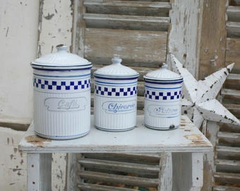 Canisters / French Enamelware / Enamel / Kitchen Canisters / French Kitchen / French Vintage / Enamel Canister Set / French Country