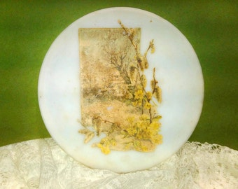 Antique Milk Glass Asian woodland scene Cold Process Turn of Century Home decor Collectible plate Painted gold cold process Cottage chic