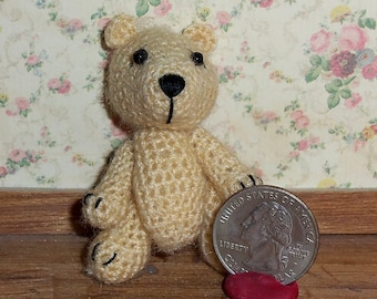 Miniature Crochet Cream Bear Thread Artist Bear  Ready to Ship