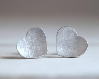 Amour earrings. Sterling silver heart earrings. Love earrings, love studs, silver heart studs, heart earrings, silver love  earrings.