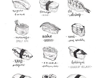 Sushi Lovers Gift, Sushi Guide Illustration, Black and White, Illustration Art Print, Home Decor, Foodie, Poster, Japanese Food, Gift Idea