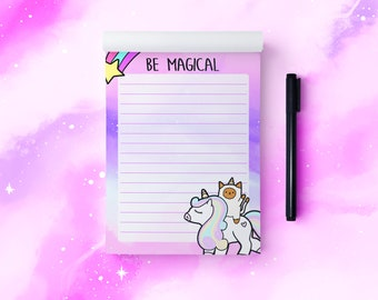 A6 Magical Unicorn and Cat 50 Page Notepad