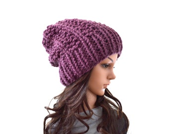 Chunky Knit Slouchy Hat Beanie Toque   The Aurora
