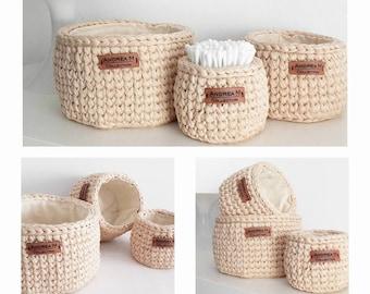 Regalo Día de La Madre! Cestas Almacanenamiento de Forrada, Lined Storage Baskets, Crochet Basket, Storage Basket, Gift Basket