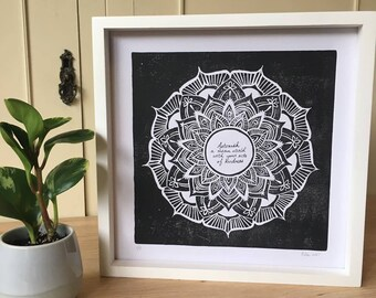 Astonish a mean world with your acts of kindness- framed linocut print