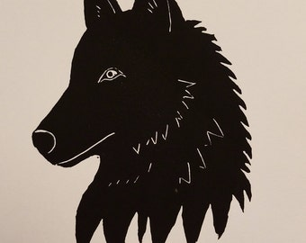 "Wolf in black - 5""x7"" original linocut block print"