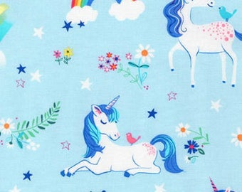 Unicorns and Rainbows on Blue from Robert Kaufman's Happy Little Unicorn Collection