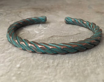 Rustic turquoise cuff, twisted wire, metal ink copper bracelet