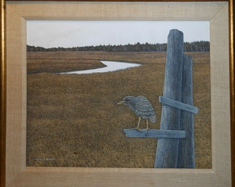 vintage acrylic shore bird painting signed Richard sparre
