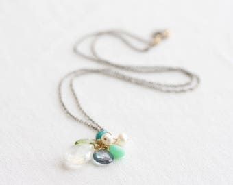 Gemstone cluster necklace - rainbow moonstone, blue quartz, peridot, chrysoprase, turquoise & pearl - mixed metal, oxidized silver and gold