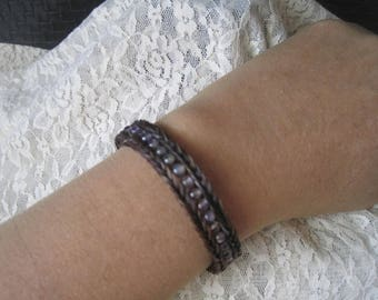 Braided horsehair with purple fluorite gemstone beads